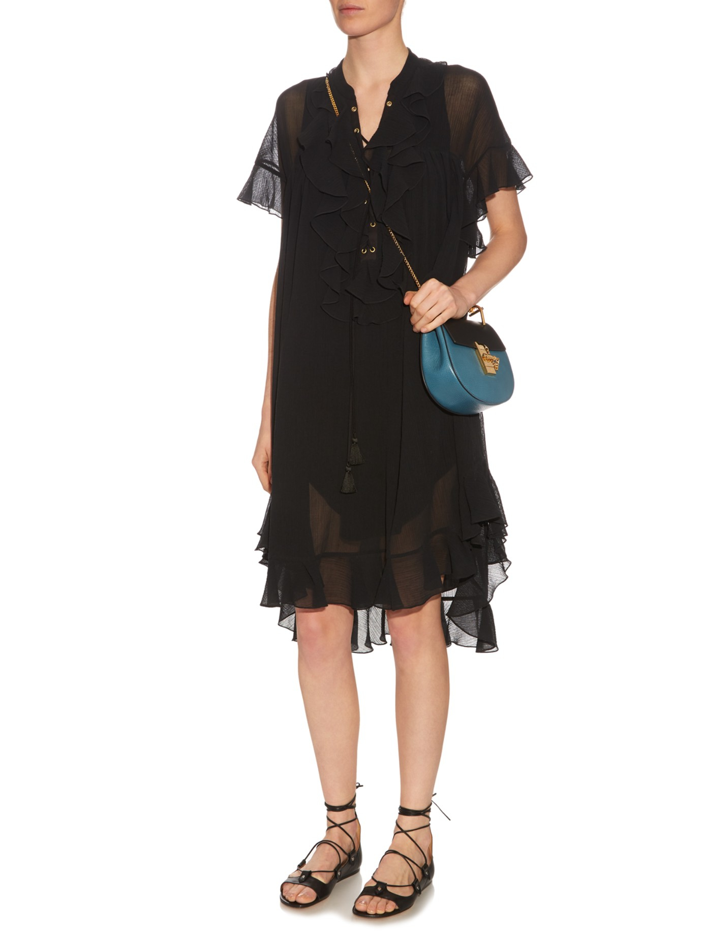 Chlo�� Drew Mini Leather Cross-Body Bag in Black (BLACK BLUE) | Lyst