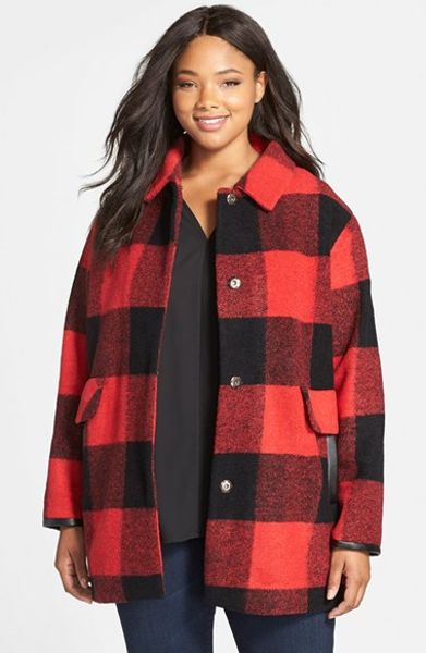 Pendleton Buffalo Plaid Wool Blend Barn Coat In Red Red