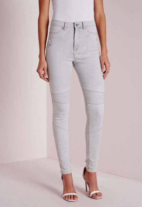 High waisted grey skinny women's jeans