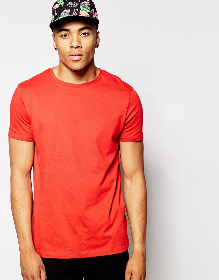 Lyst Asos T Shirt With Crew Neck And Relaxed Fit In Red