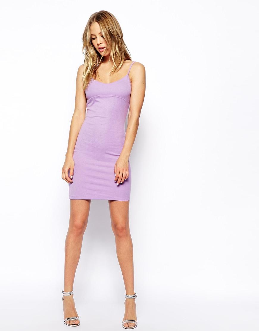 Lyst Asos Mini Cami Body Conscious Dress In Rib In Purple