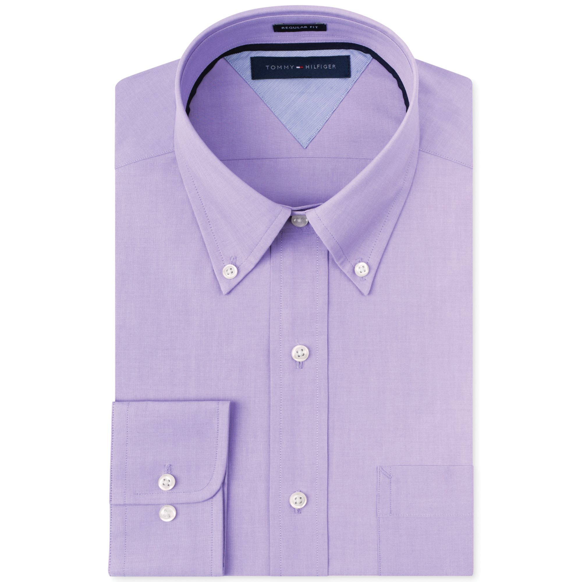 Lyst Tommy Hilfiger Solid Dress Shirt In Purple For Men