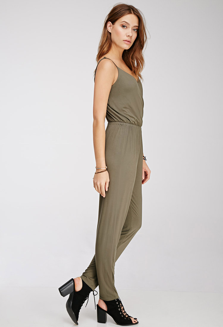 fac4e8032aa Lyst - Forever 21 Surplice Front Jumpsuit in Green
