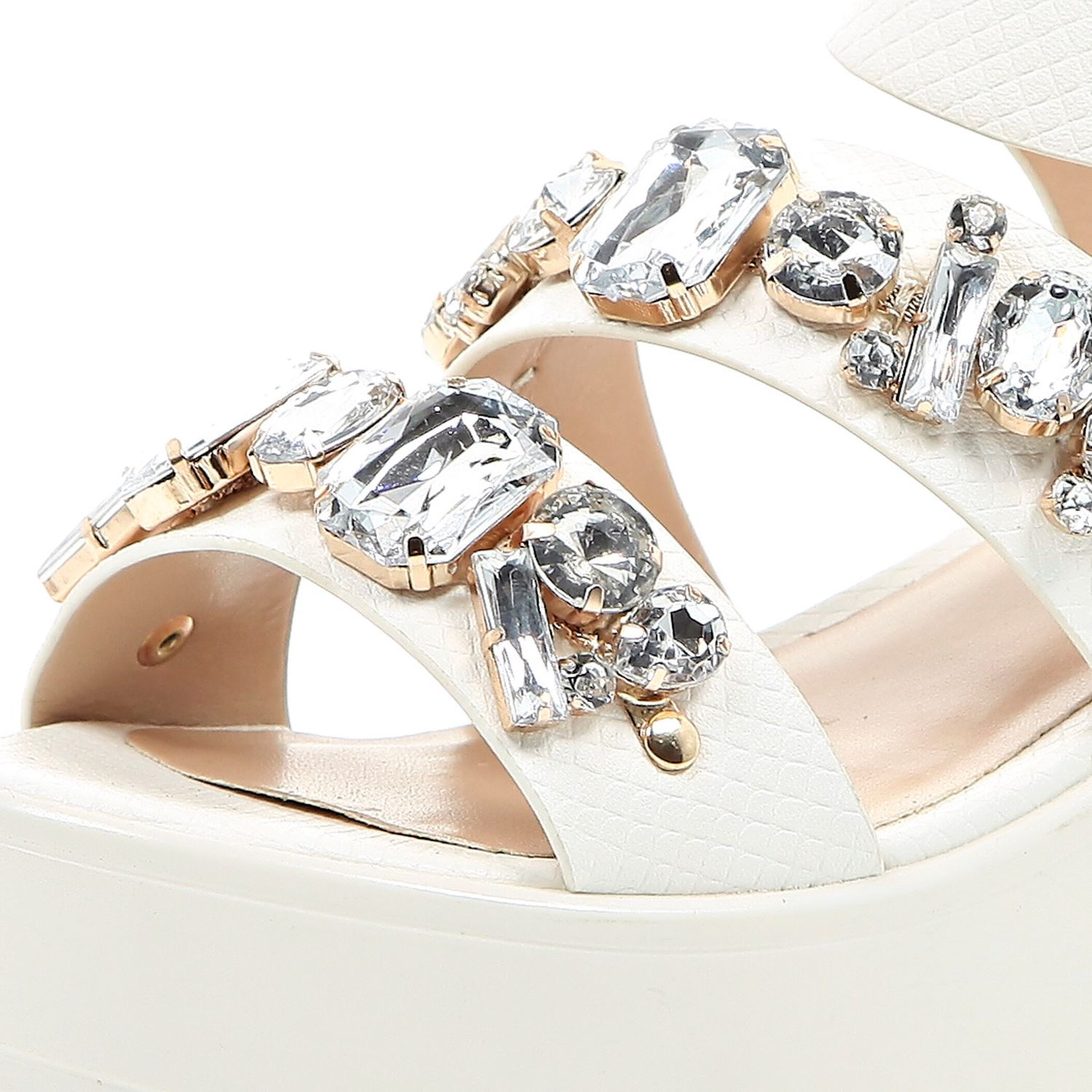 abc8f88cd86 River Island White Chunky Gem Embellished Sandals in White - Lyst