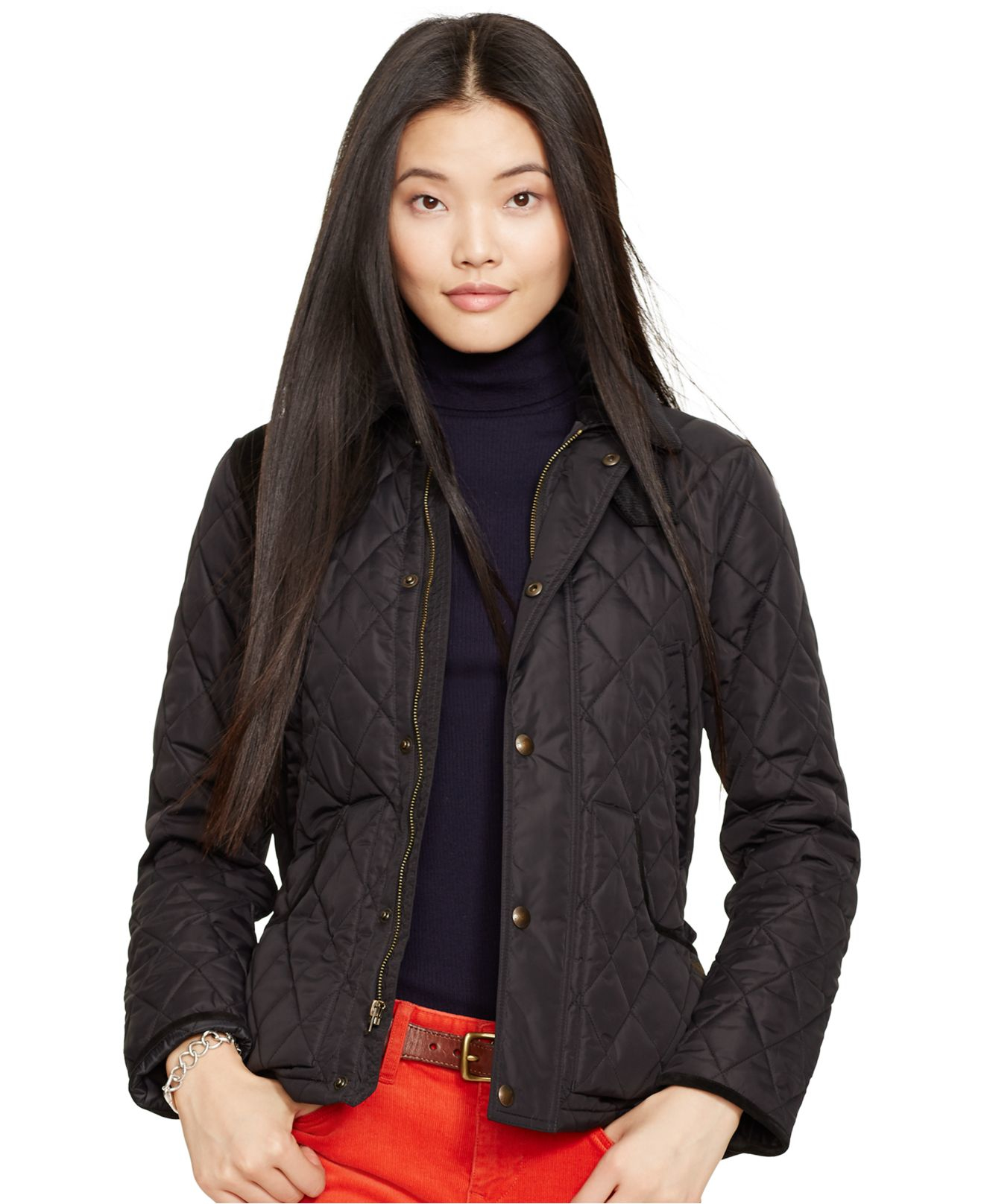 Lyst Polo Ralph Lauren Suede Trim Quilted Jacket In Black