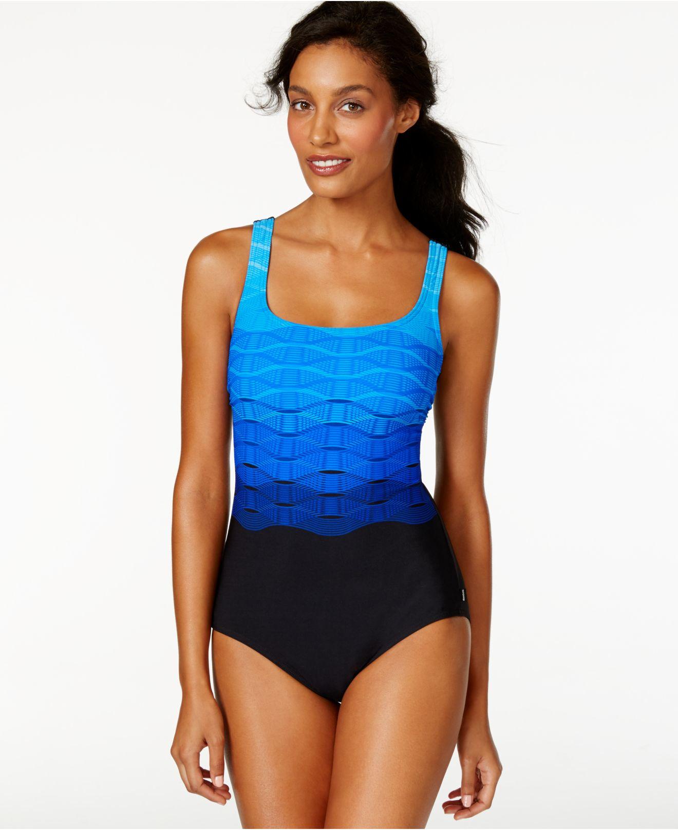 201f2de1d8 Lyst - Reebok Wave-print One-piece Swimsuit in Blue