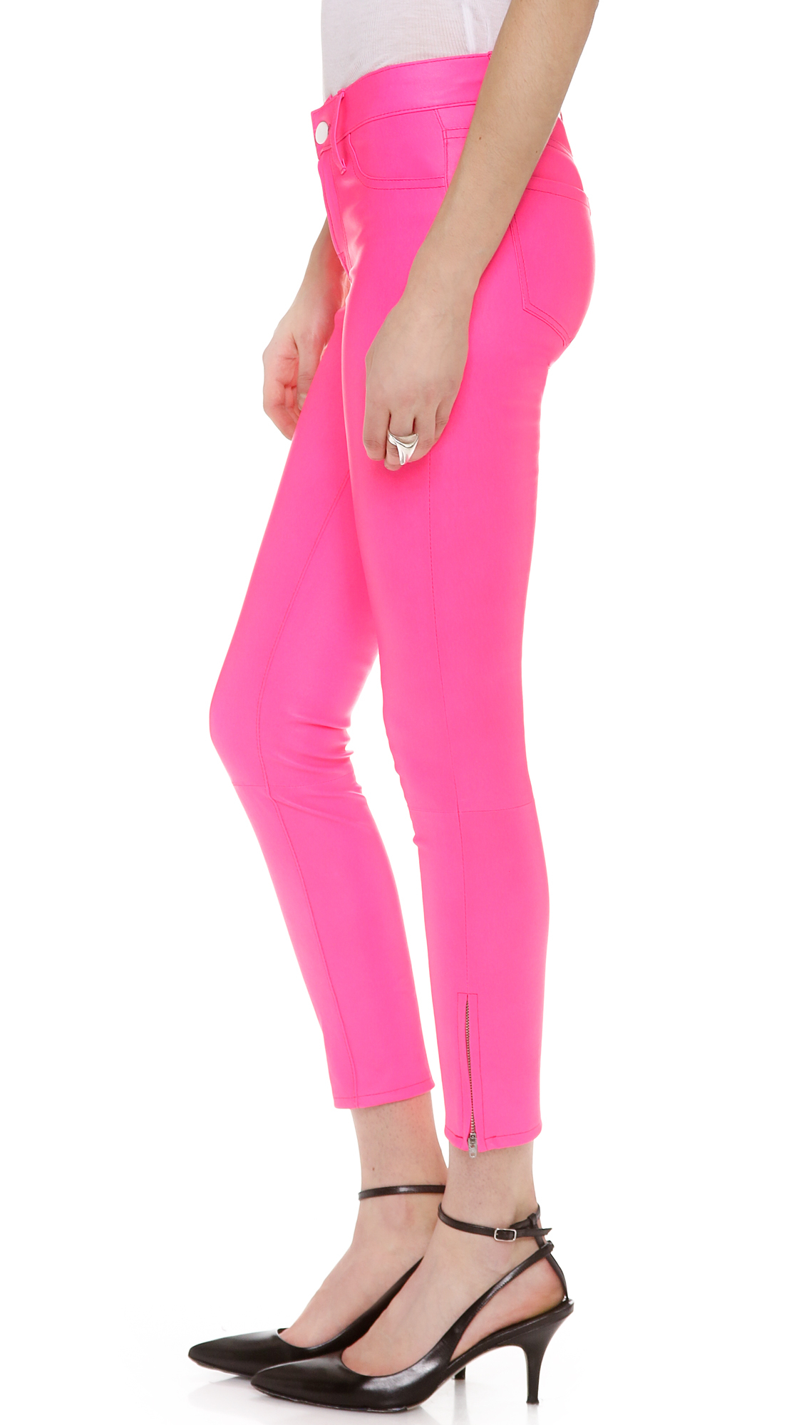 J Brand Leather Pants In Pink Lyst