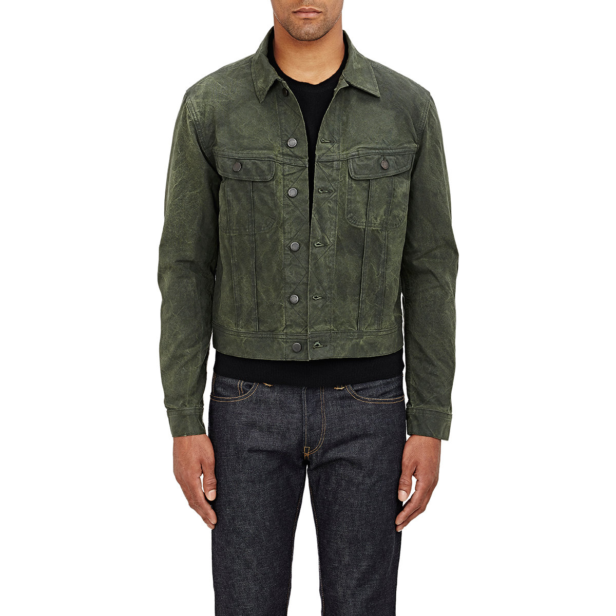 Ralph lauren black label Coated Denim Jacket in Green for Men | Lyst