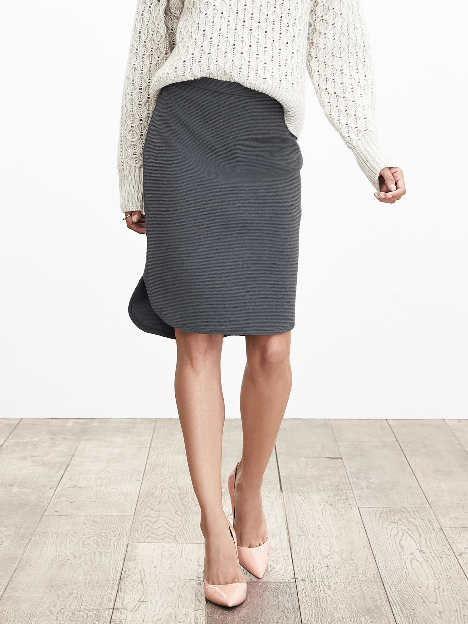 banana republic textured high low pencil skirt in gray