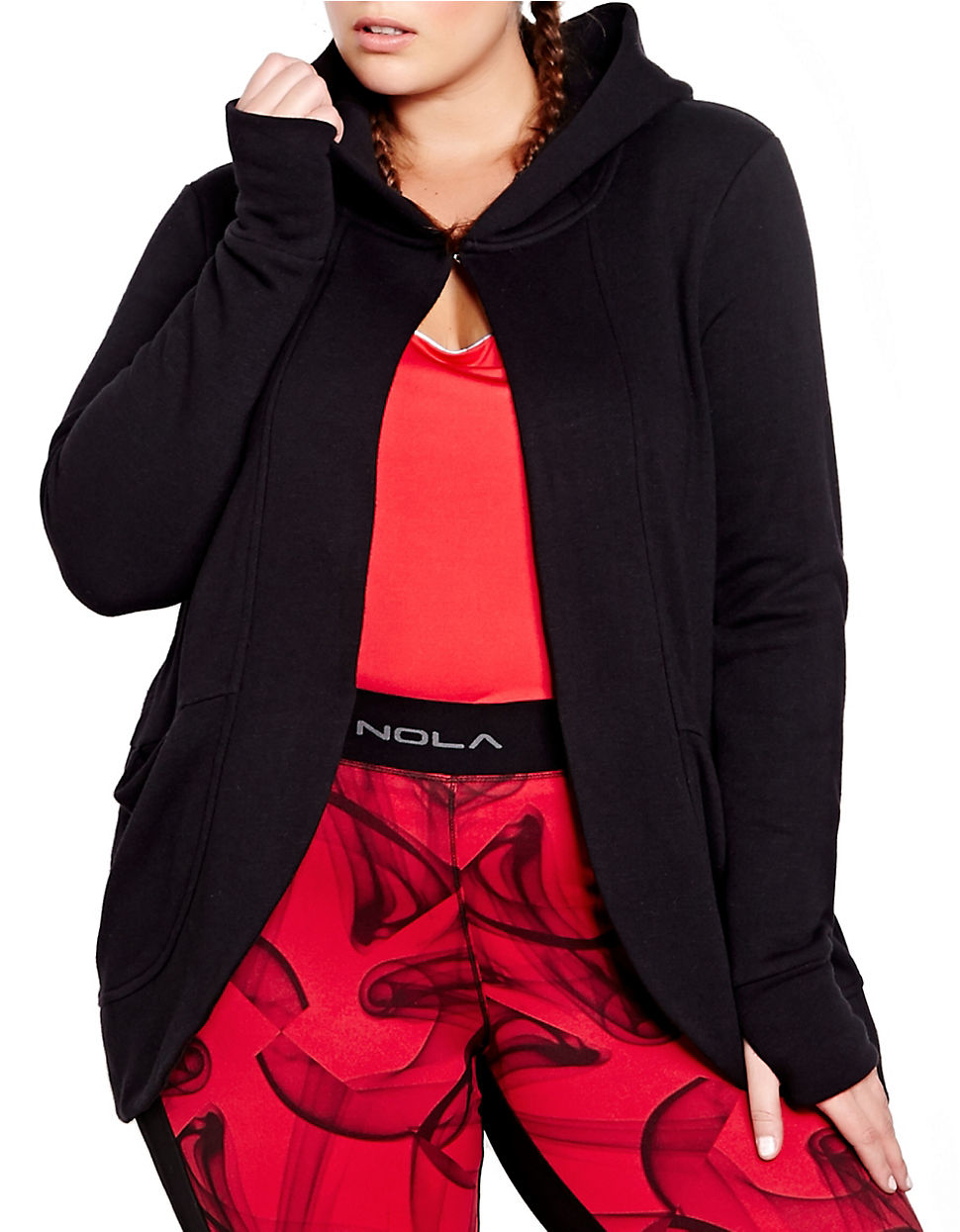 Addition Elle Plus Size Nola Fleece Thumb Hole Cocoon Hoodie In