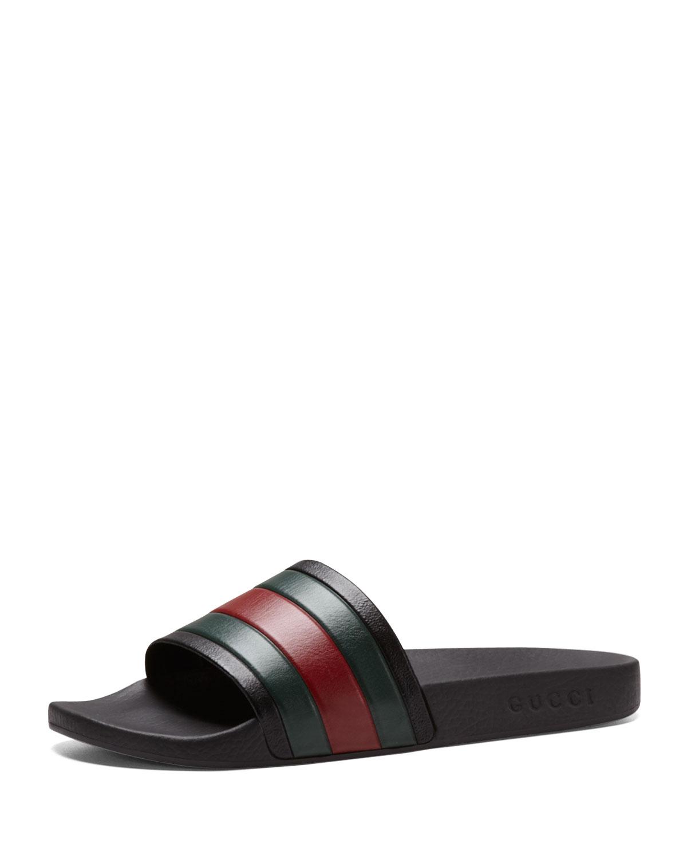 b2108ea9fa84 Lyst - Gucci Pursuit  72 Rubber Slide Sandal in Black for Men
