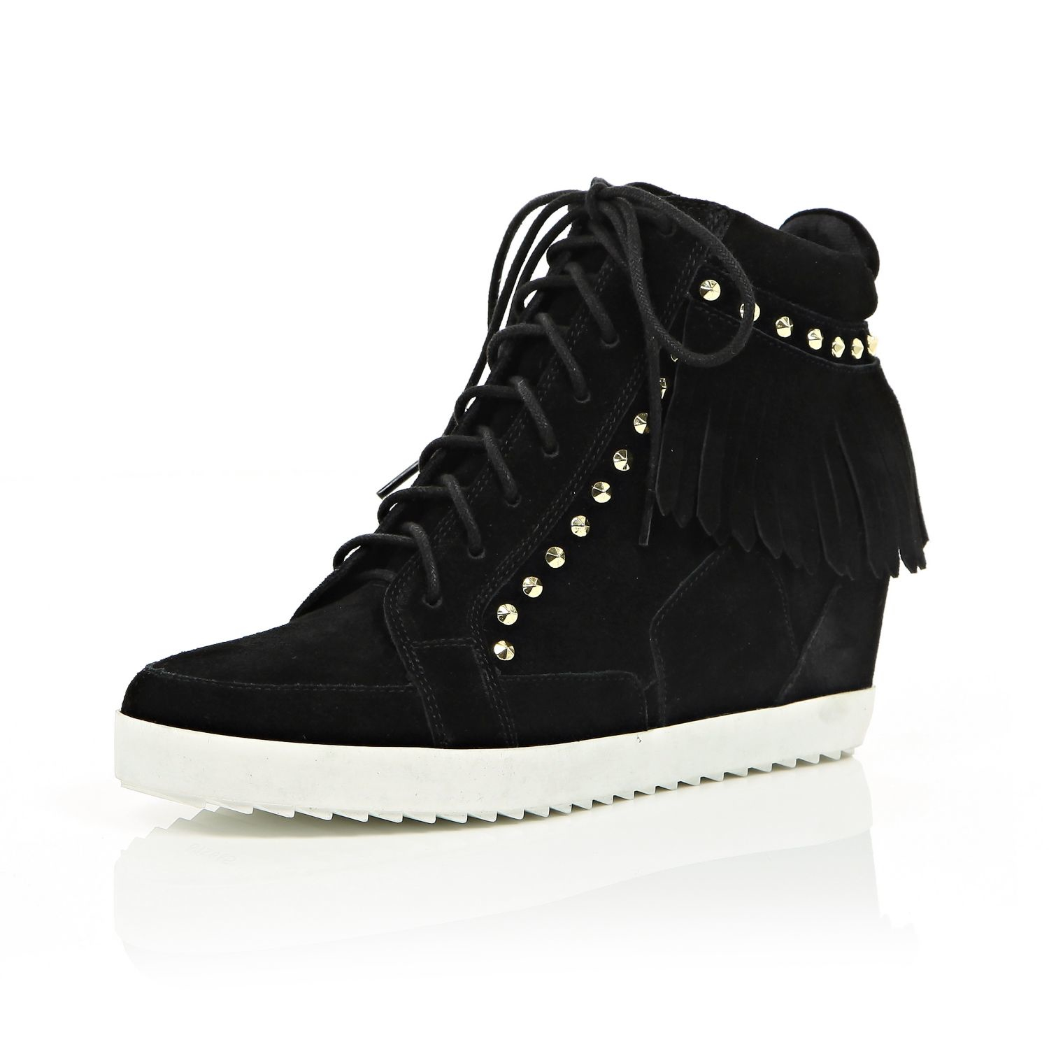 1013f7914ea4 River Island Black Suede Fringed High Top Wedge Trainers in Black - Lyst