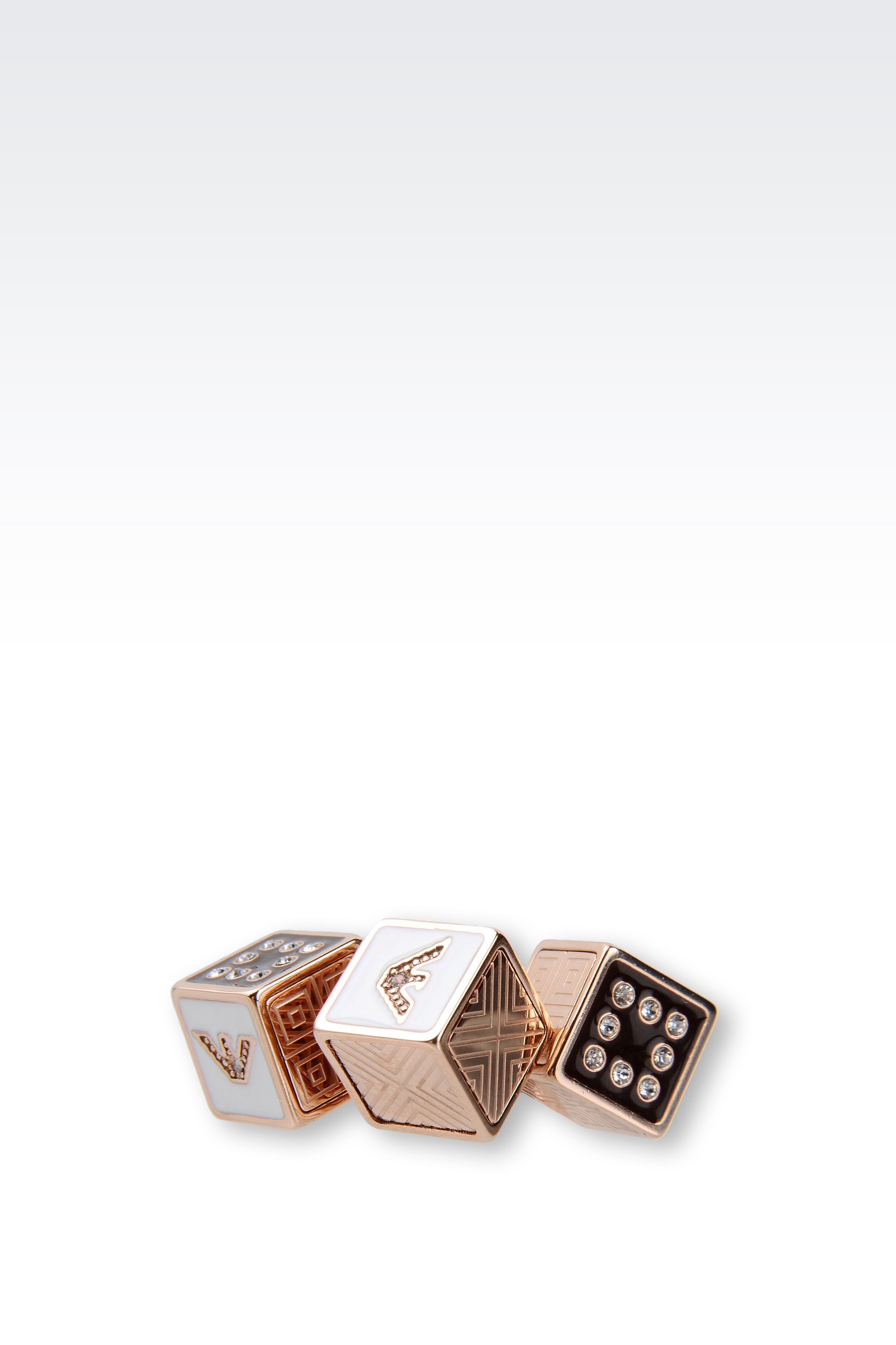 emporio armani gold plated ring with swarovski in gold lyst