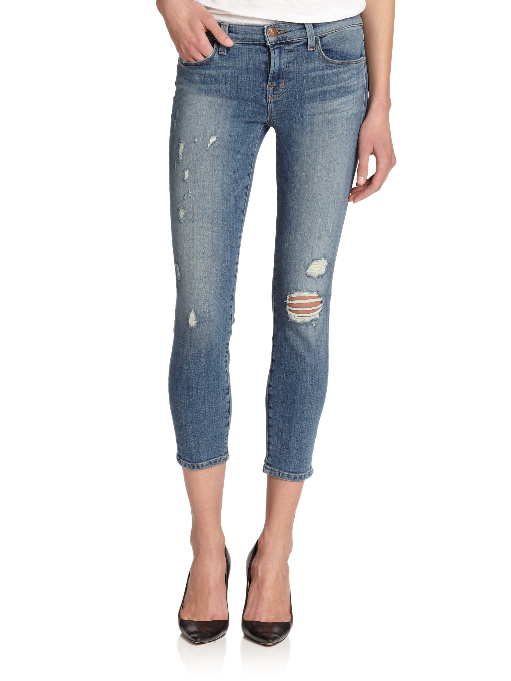 Sale Visit New 835 Distressed Cropped Mid-rise Skinny Jeans - Black J Brand Sale Cheap Extremely For Sale Clearance Best Sale 5vEK2Ml