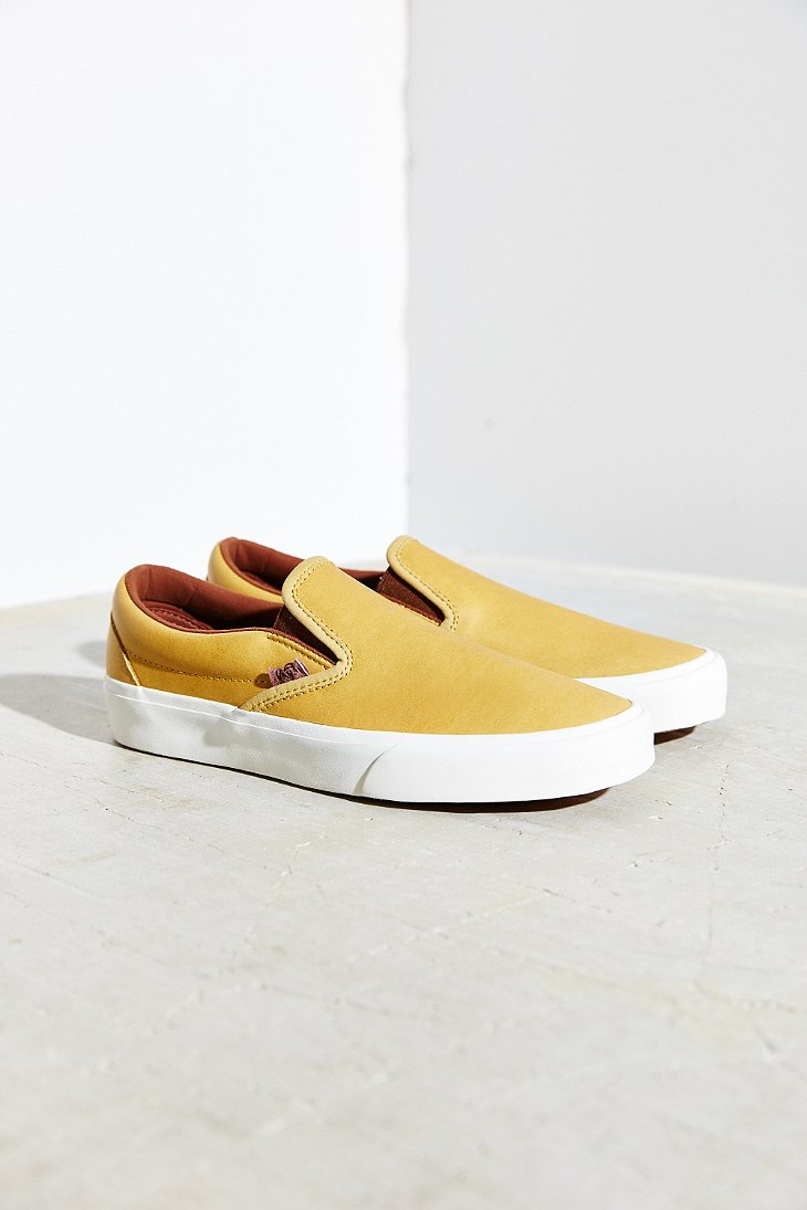 9e696ccac0 Lyst - Vans Vegetable Tanned Leather Classic Slip-on Sneaker in Yellow