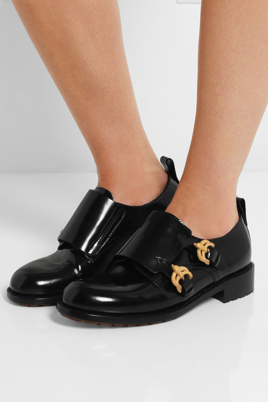 9110305b1c3 Lyst - Valentino Double Monk-Strap Leather Loafers in Black