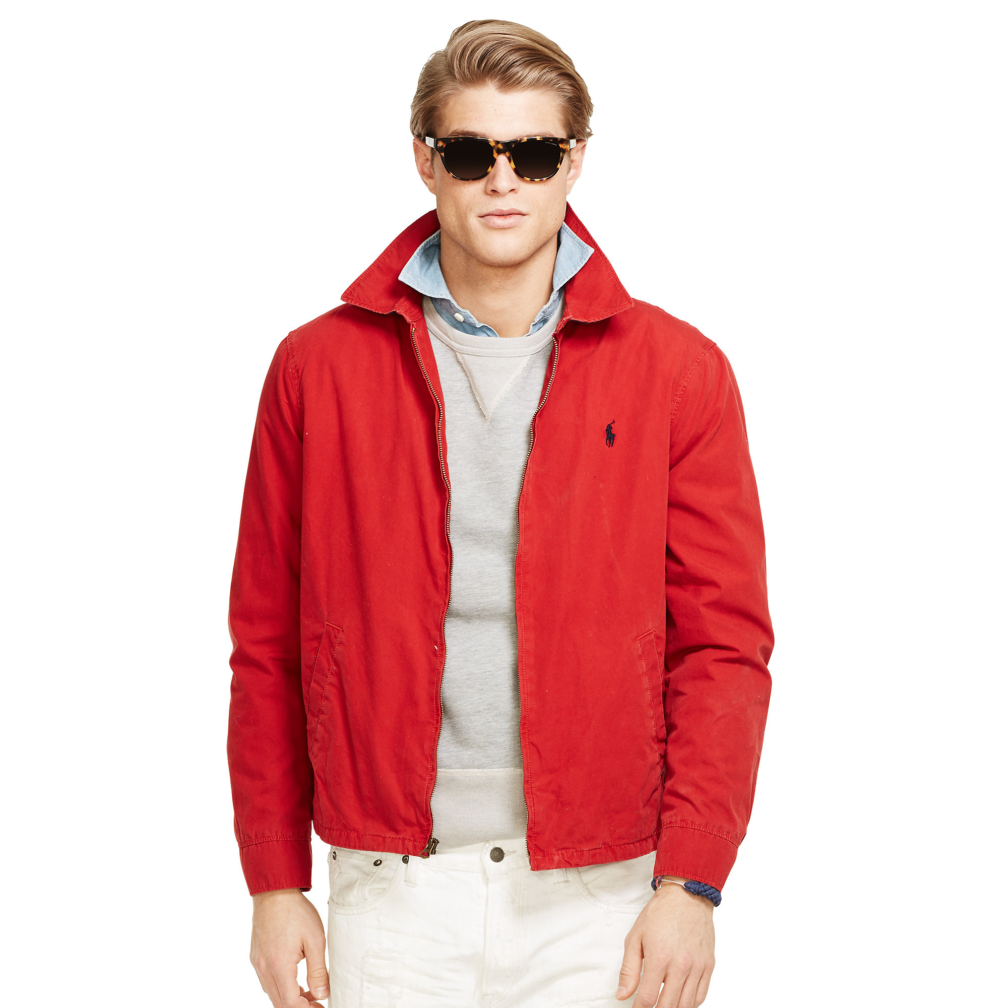 polo ralph lauren cotton landon windbreaker in red for men. Black Bedroom Furniture Sets. Home Design Ideas