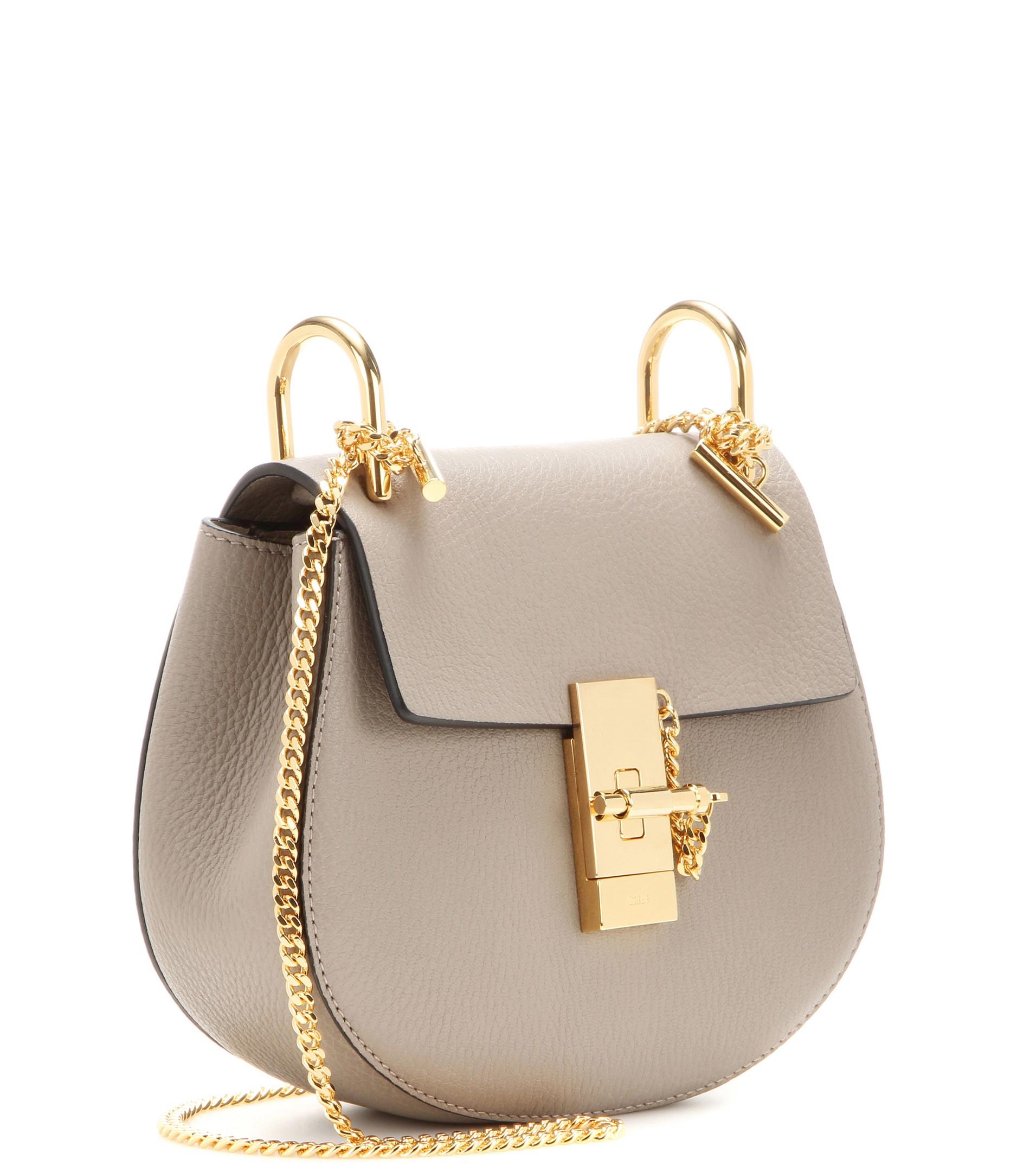 chloe python handbag - Chlo�� Drew Mini Leather Shoulder Bag in Gray (Motty Grey) | Lyst