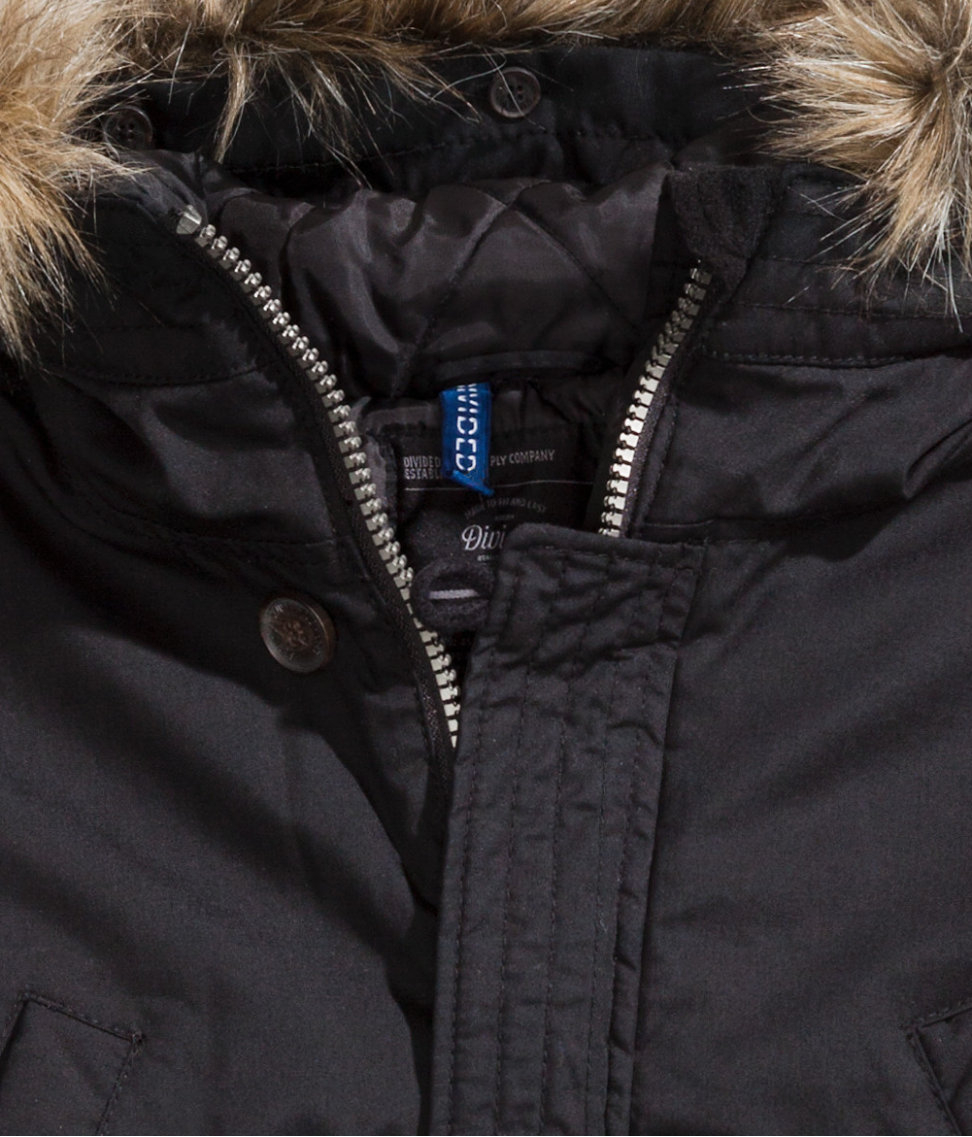 H&m Padded Parka in Black for Men | Lyst