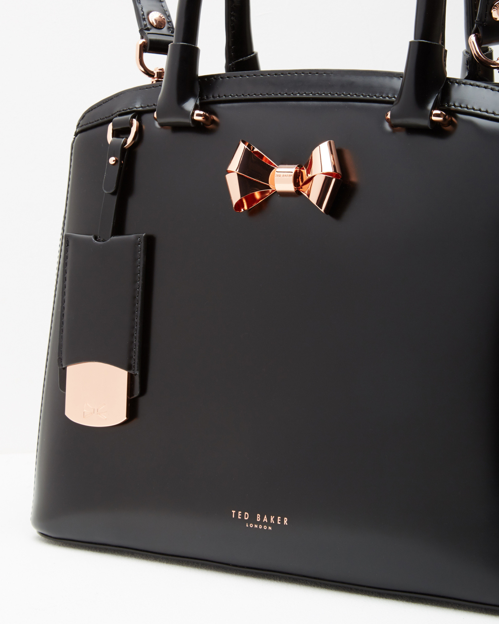 81f92f6f75b Ted Baker Bow Detail Leather Large Tote Bag in Black - Lyst