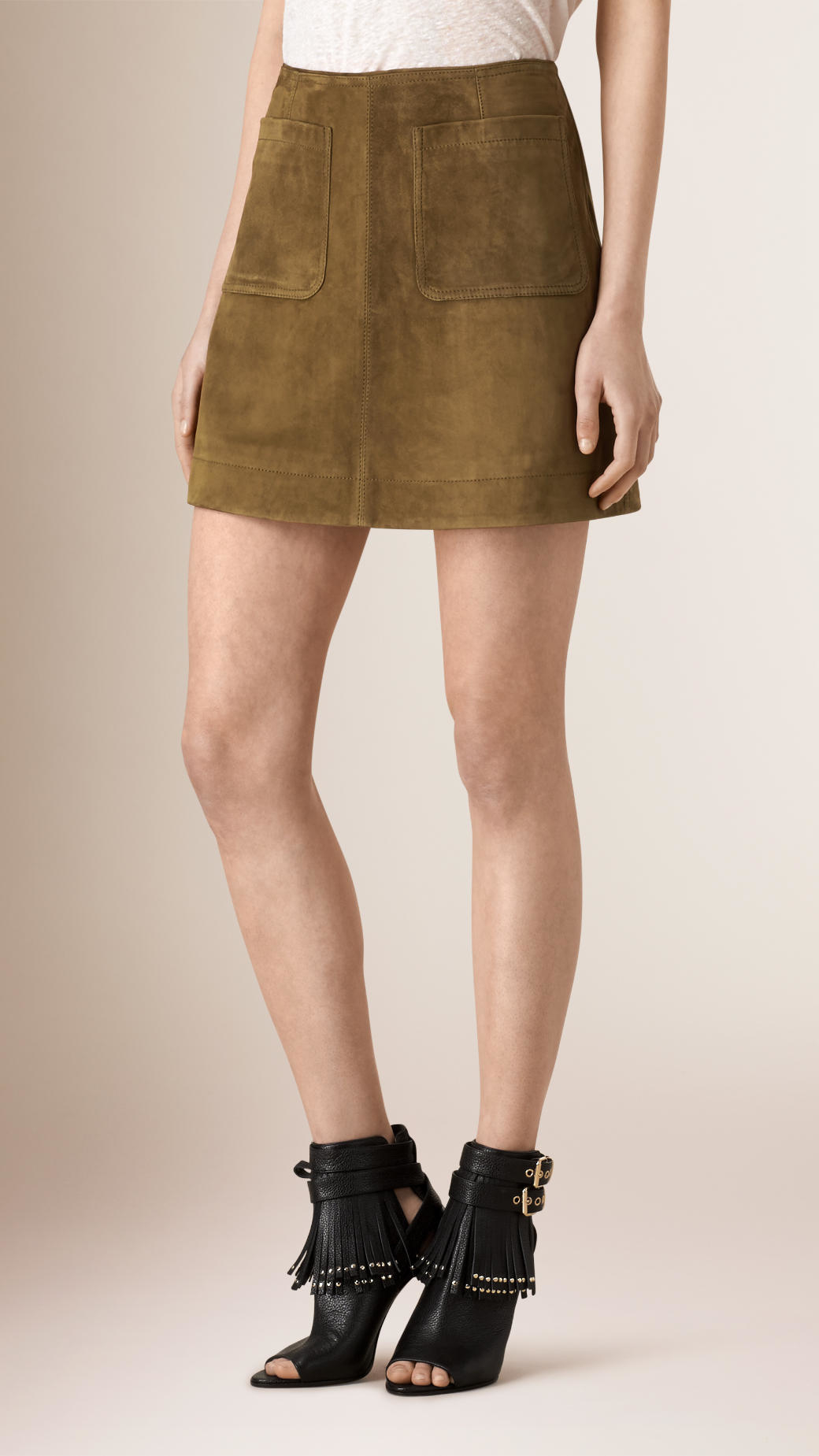 burberry a line suede skirt in lyst