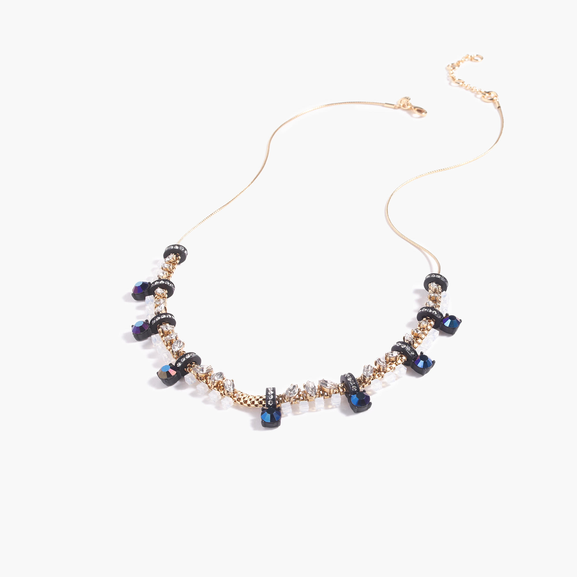 Mixed crystal statement necklace in blue lyst for J crew jewelry 2015
