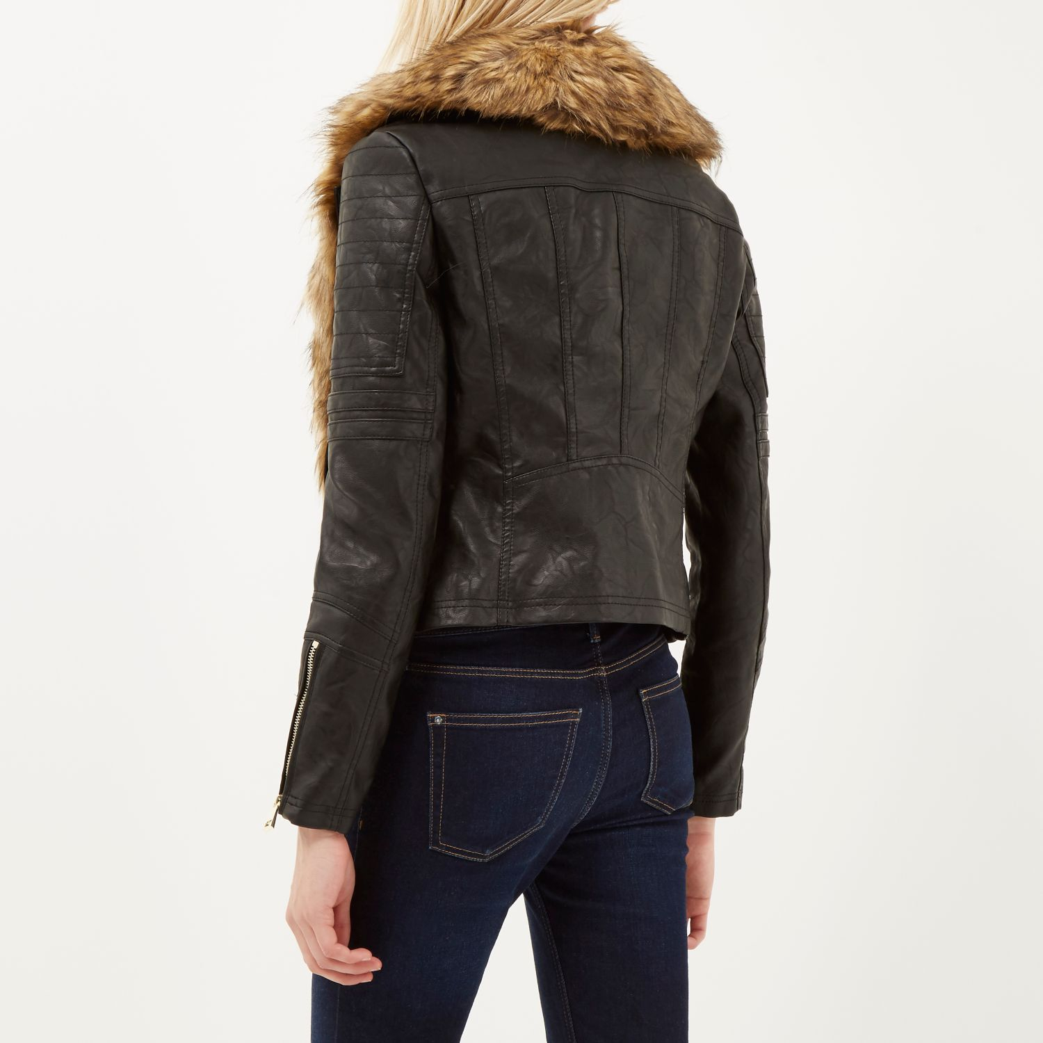 faux fur collar biker jacket river island