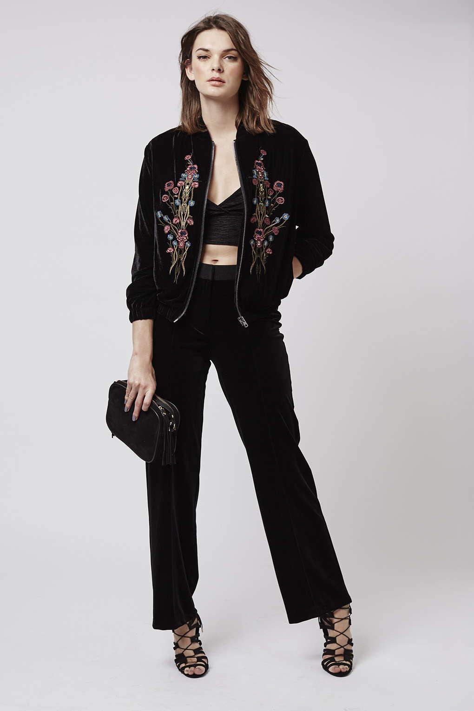 Topshop Velvet Embroidered Bomber Jacket In Black   Lyst