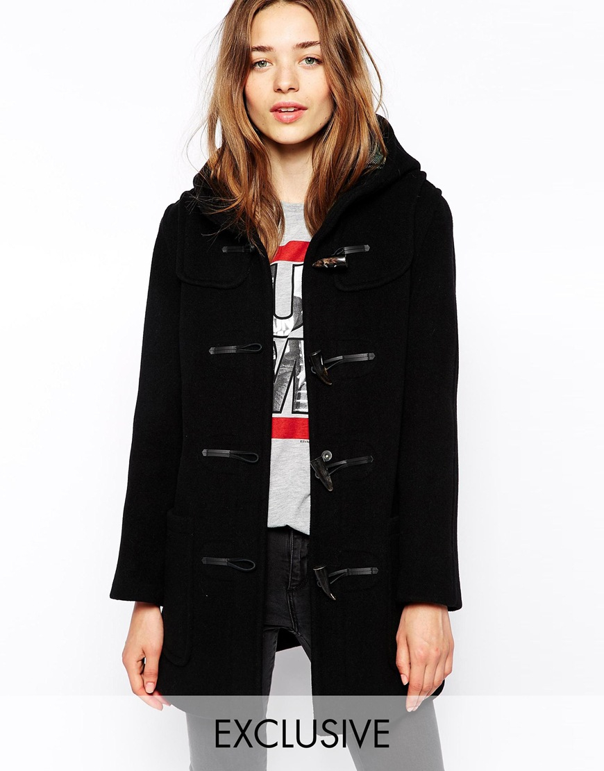 Gloverall Hooded Duffle Coat With Plaid Lining in Black | Lyst
