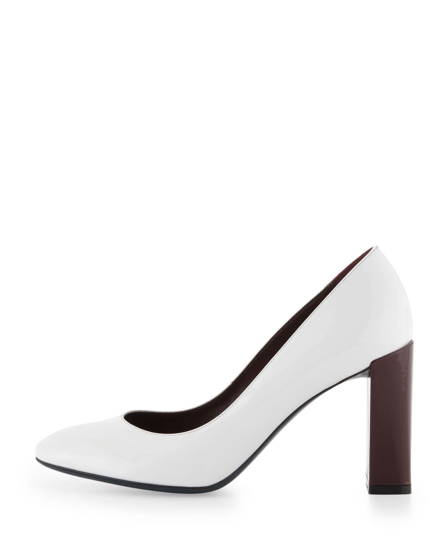 329083f04f9b Lyst - Fendi Patent Block Heel Pump in White