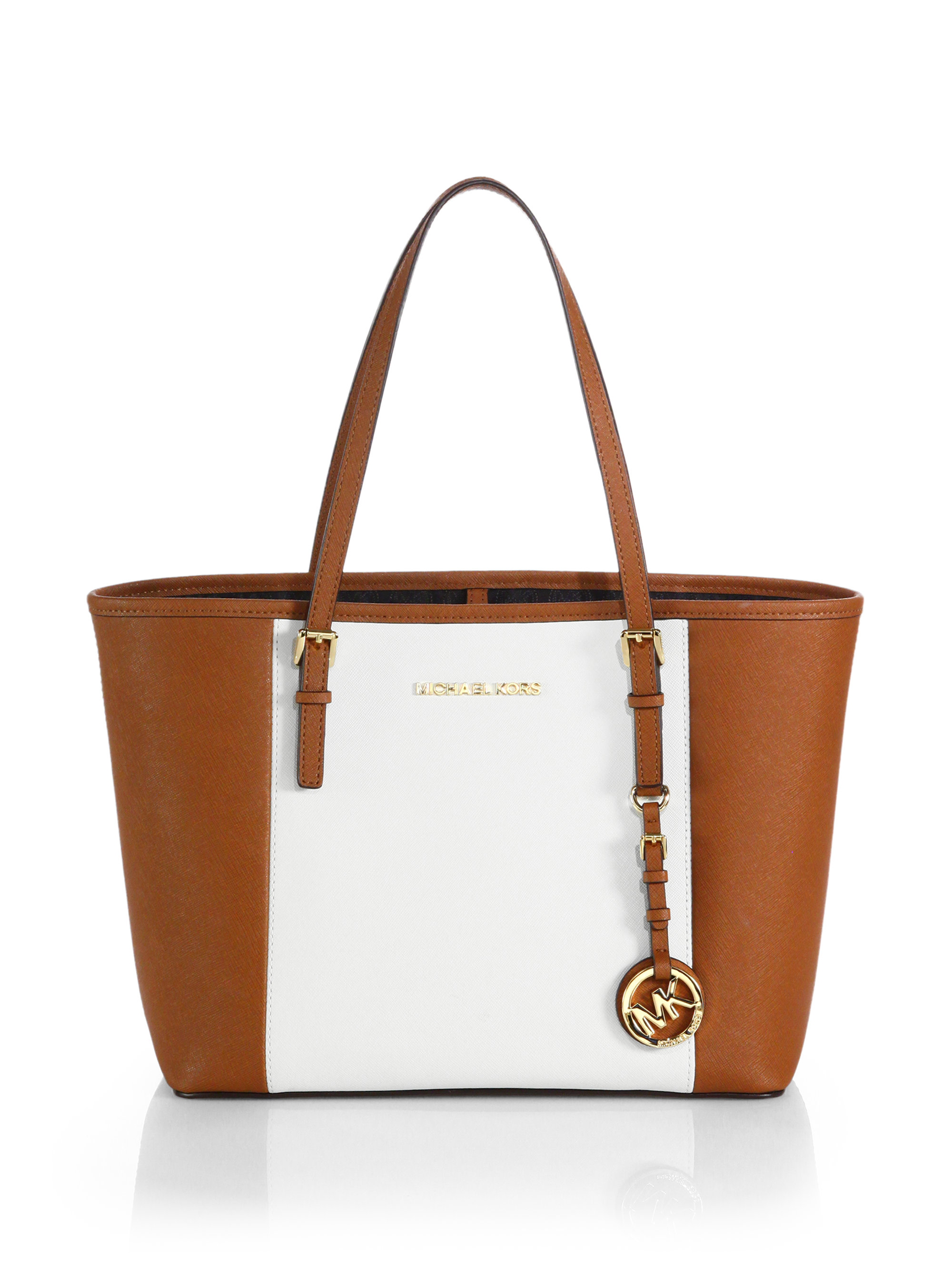 c44b756ab4c3 ... germany ireland lyst michael michael kors small colorblock travel tote  in brown 4eaf3 cb4aa ad578 e7a98