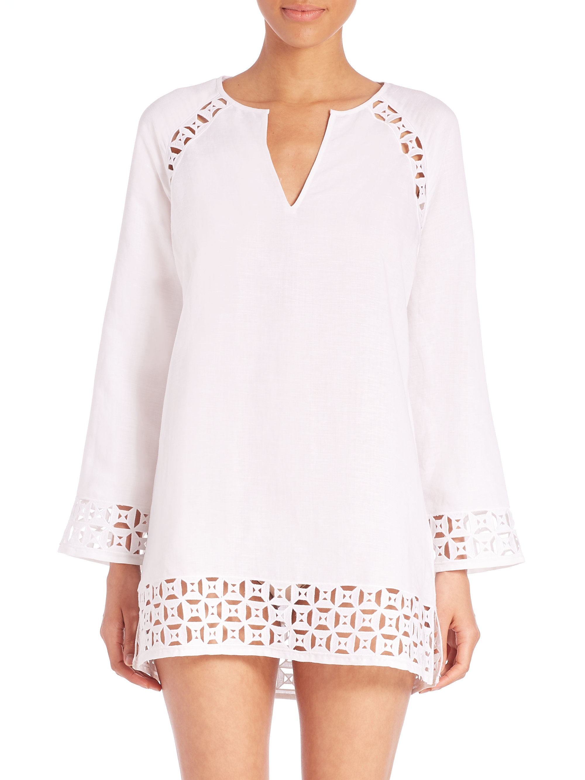 9b2cadb573b Lyst - Tory Burch Embroidered Linen Cutout Tunic in White
