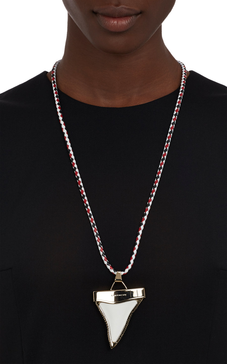 Givenchy leather bolotie necklace with sharks tooth pendant in white gallery aloadofball Gallery