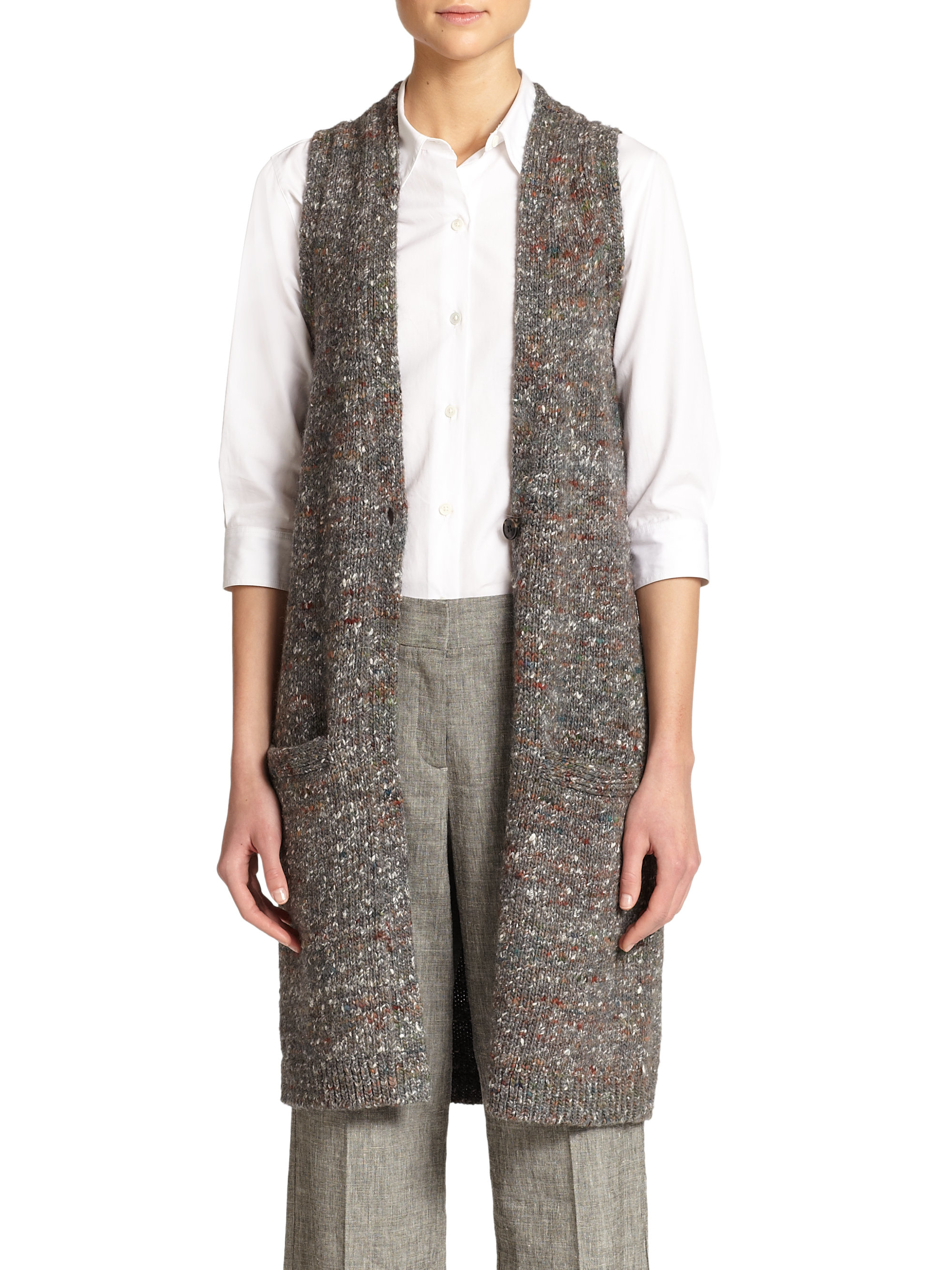 Theory Minareeya Wool & Silk Sleeveless Cardigan in Gray | Lyst
