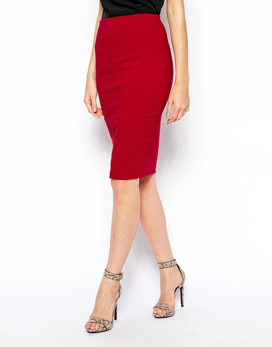 c3d3bc098c ASOS High Waisted Pencil Skirt in Red - Lyst