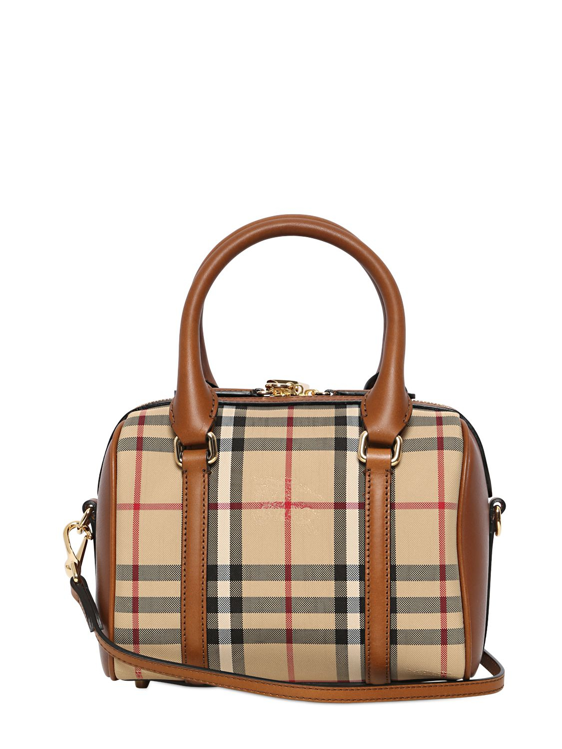 48e903a57ffd Lyst - Burberry Small Alchester Bridle House Check Bag in Brown