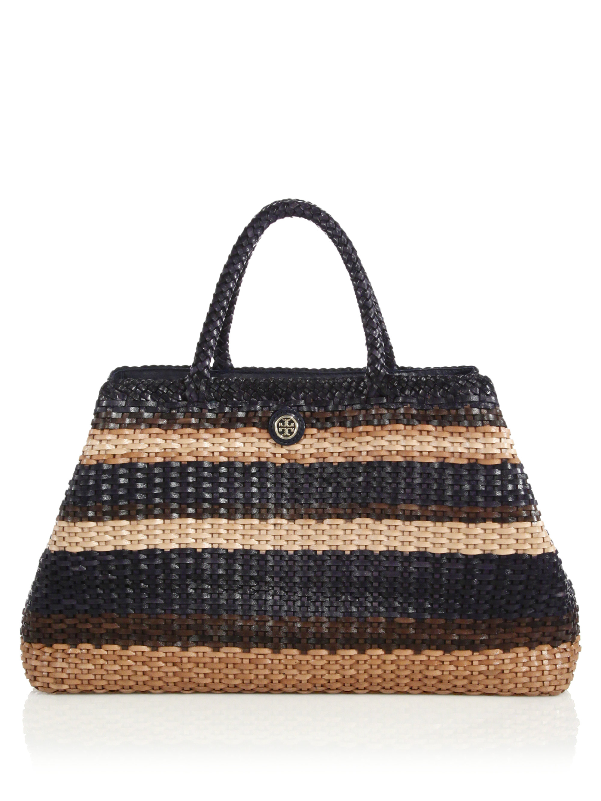 79b46887289 Lyst - Tory Burch Robinson Striped Woven Leather Convertible Tote in ...