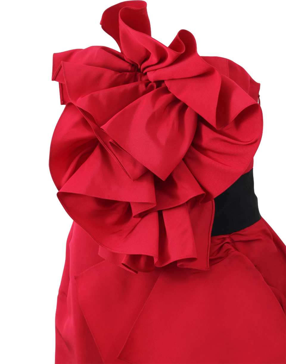 79cd82df Marchesa Strapless Ruffled Belted Gown in Red - Lyst