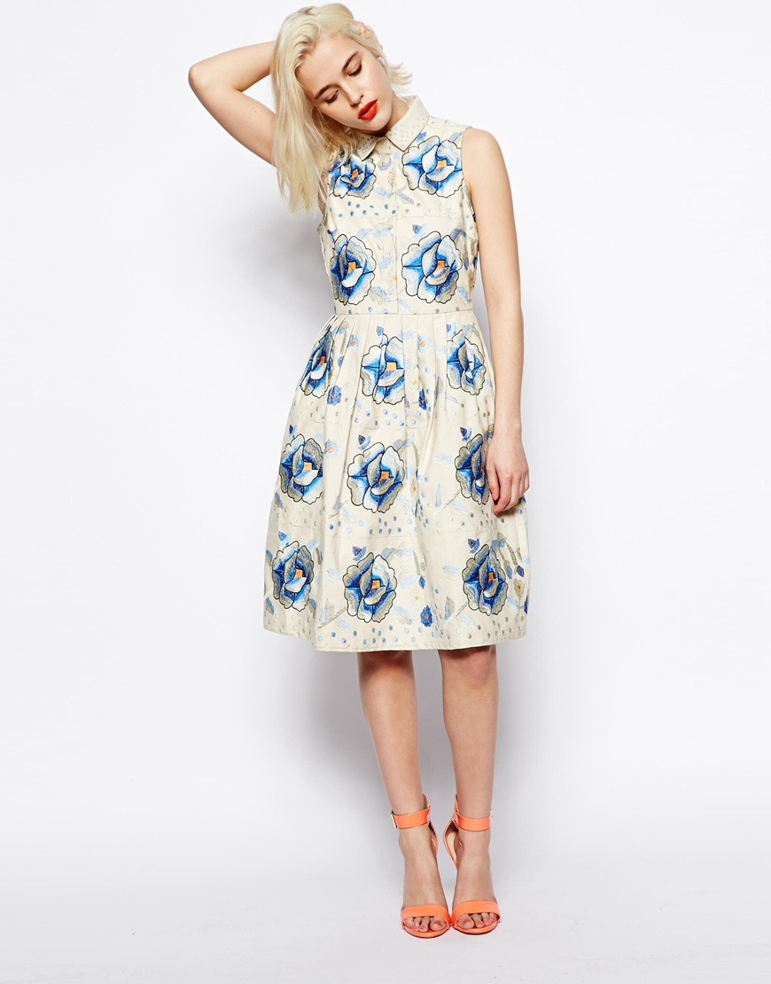 Lyst Asos Premium Embroidered Skater Dress With Blue Flowers In Blue