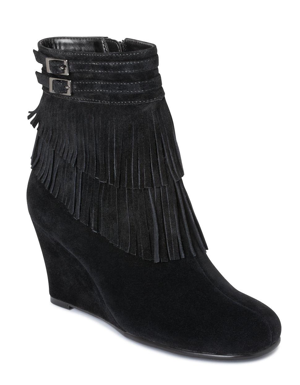 aerosoles plumming bird wedge ankle boots in black lyst