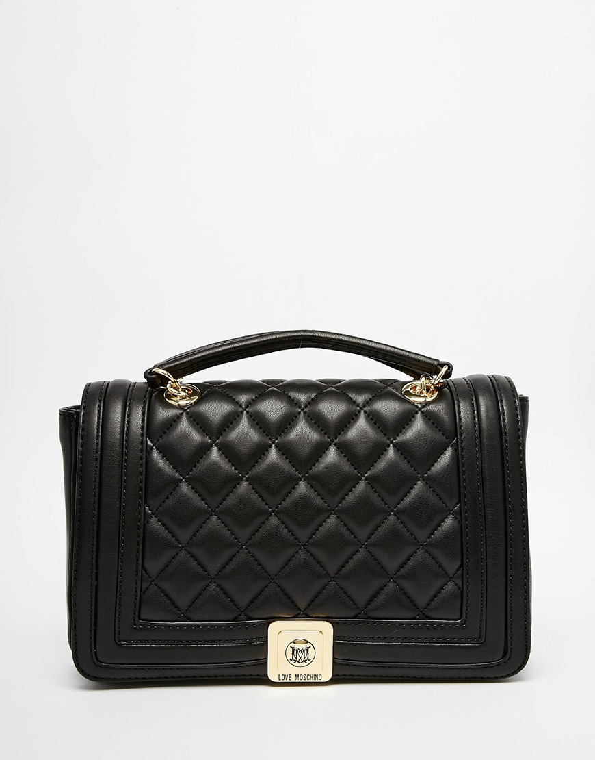 Lyst Love Moschino Quilted Shoulder Bag With Chain Strap In Black In Black