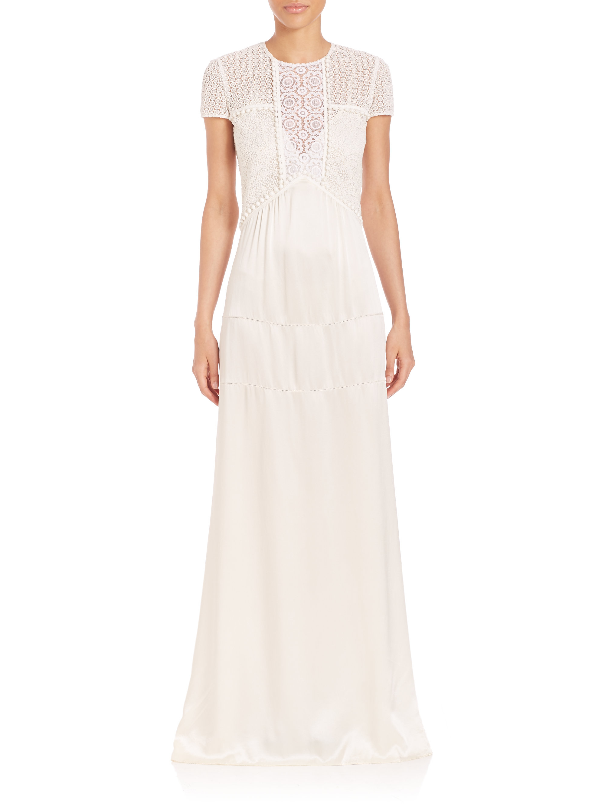 Lyst - Burberry Silk & Lace Gown in White