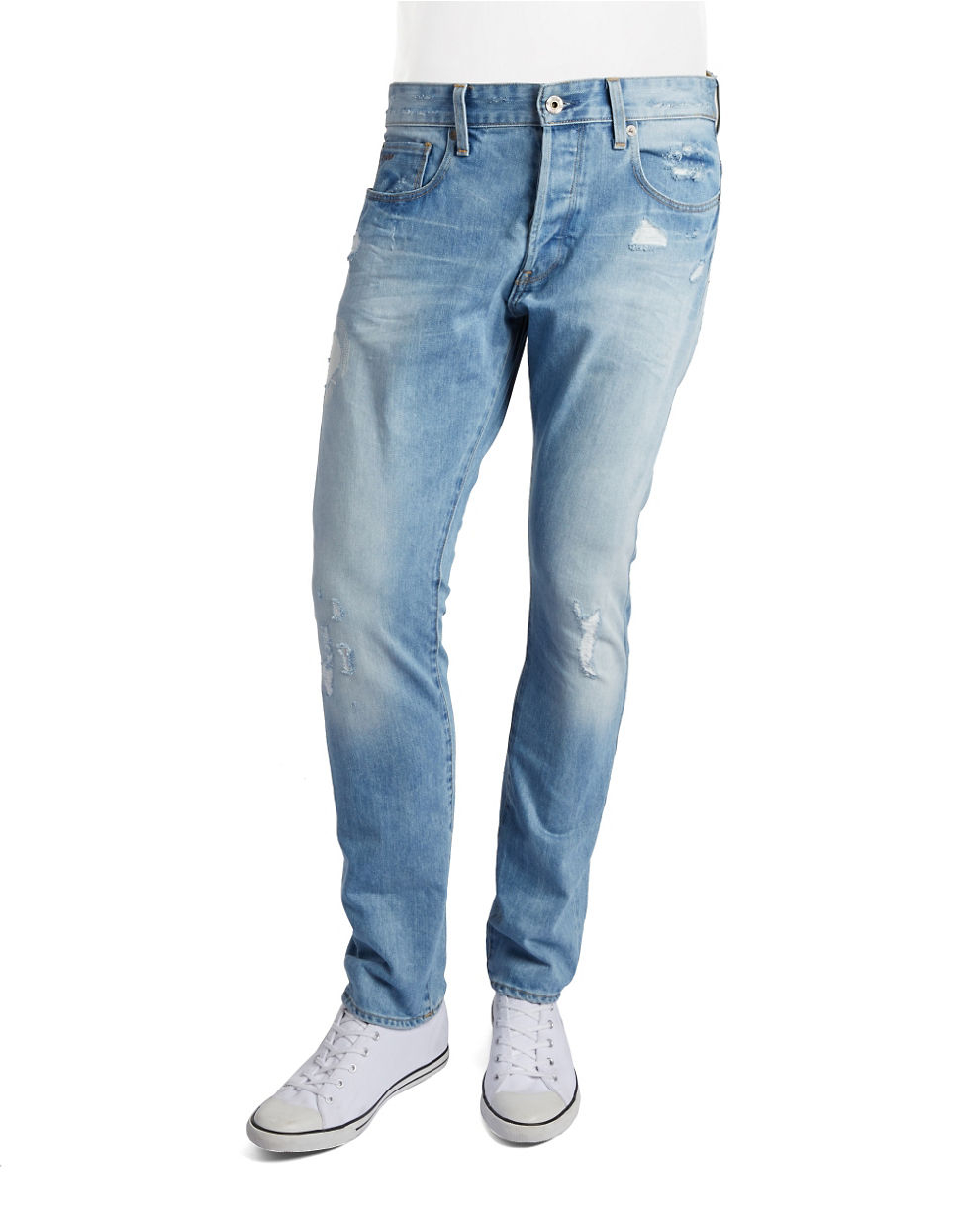 g star raw distressed straight leg jeans in blue for men. Black Bedroom Furniture Sets. Home Design Ideas