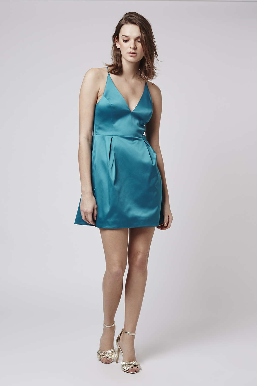 Topshop Satin Plunge A-line Dress in Blue - Lyst