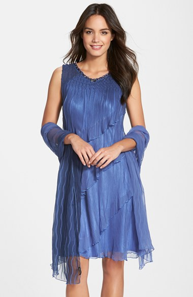 Komarov Embellished Tiered Chiffon Dress With Shawl In