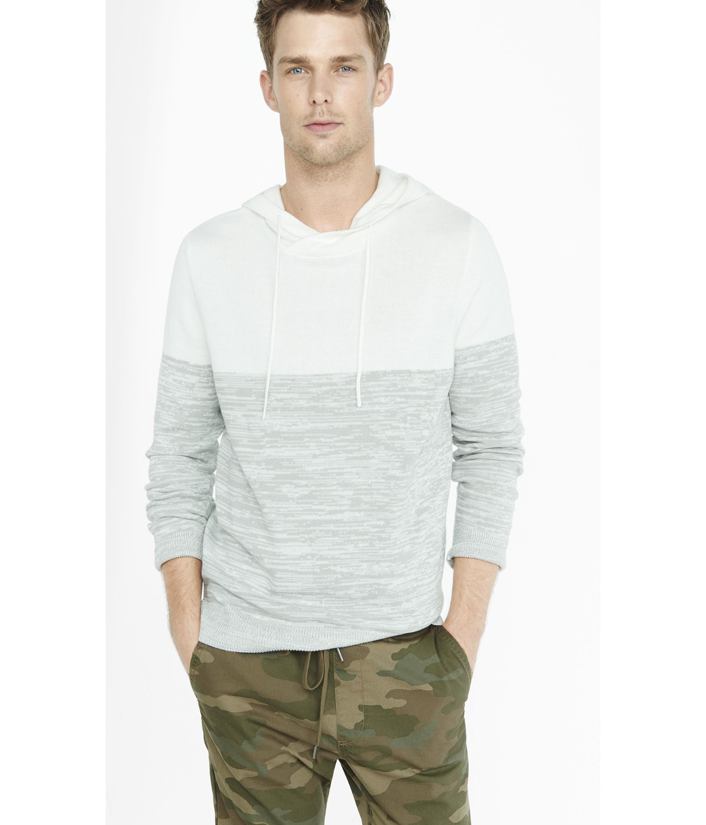 Express Color Block Marled Hooded Sweater in Gray for Men | Lyst