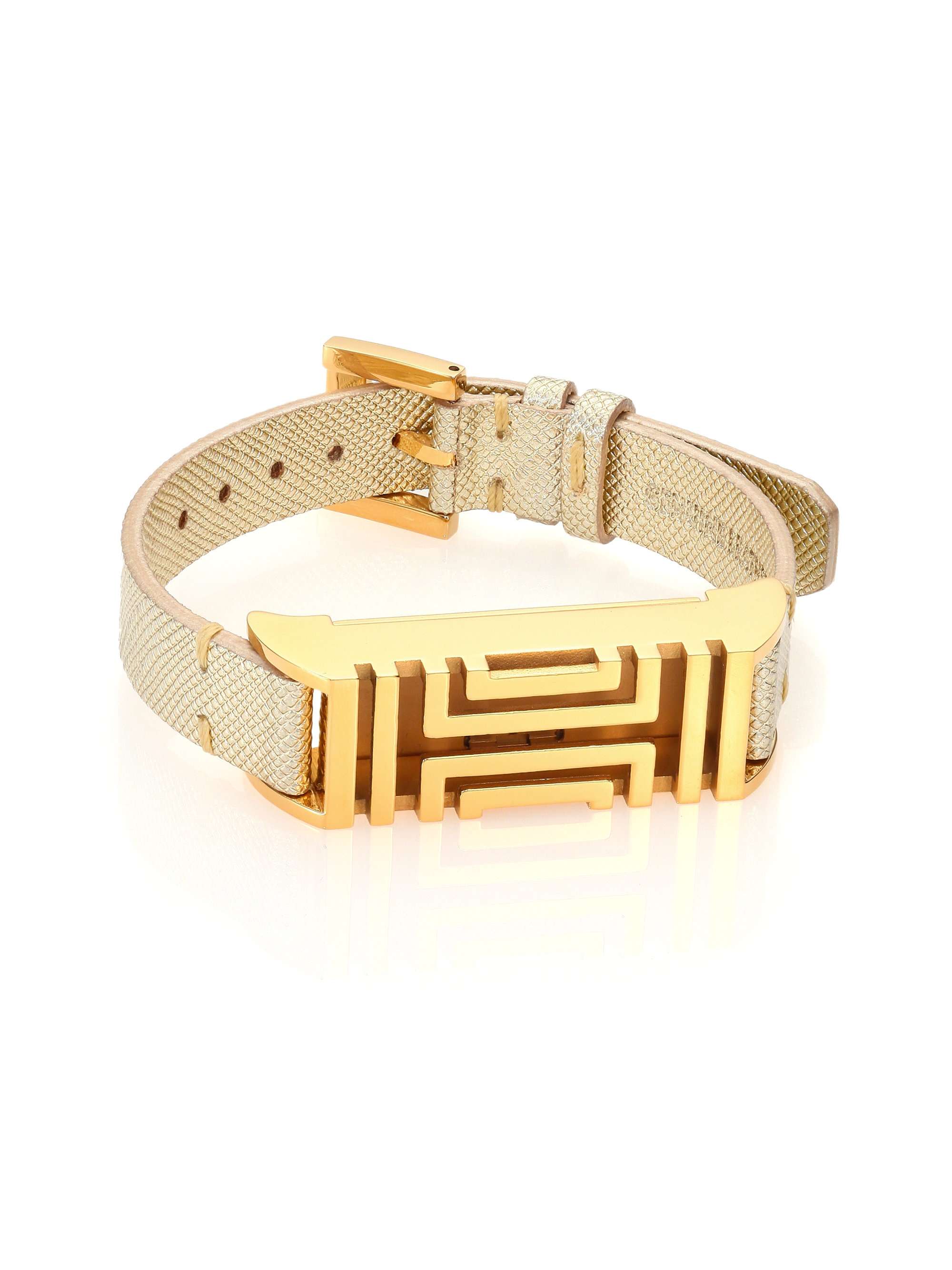 burch for fitbit metallic textured leather bracelet
