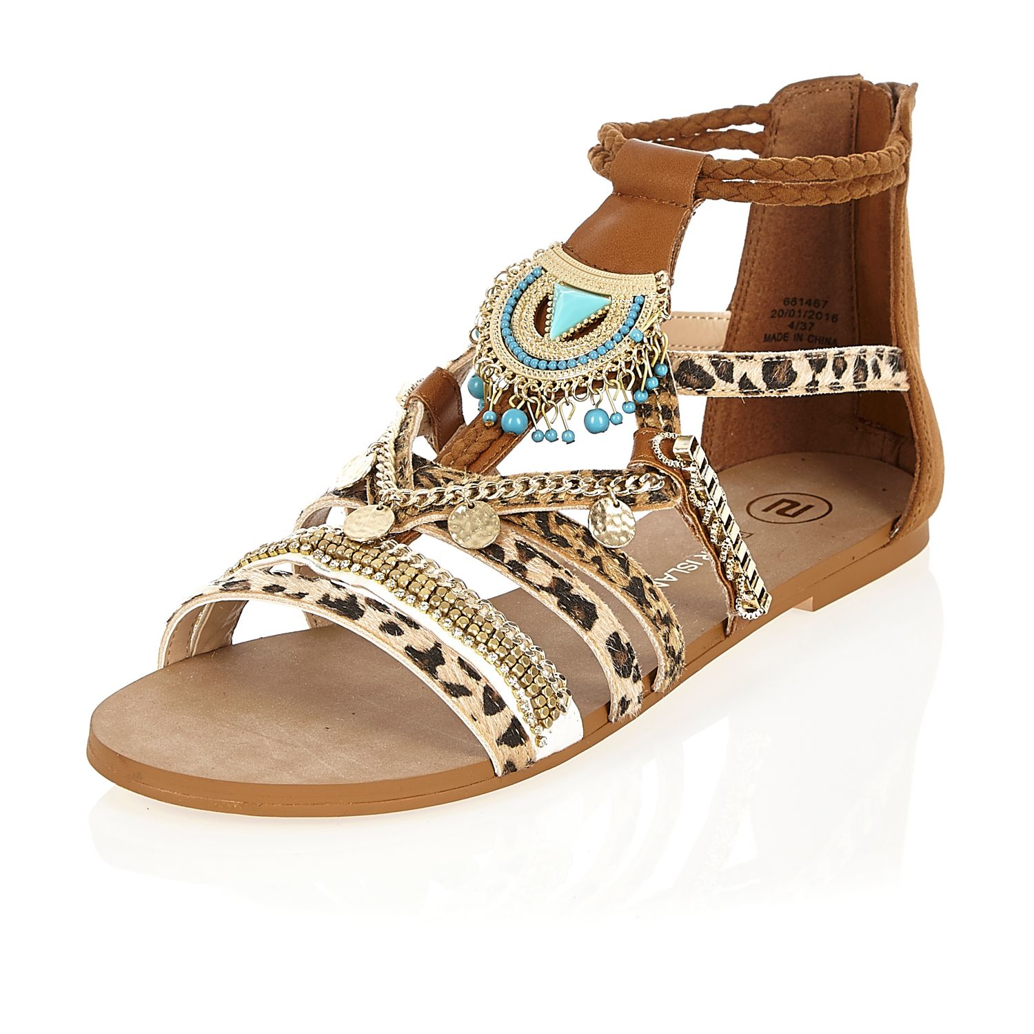 9db982721 Lyst - River Island Brown Embellished Leopard Print Sandals in Brown