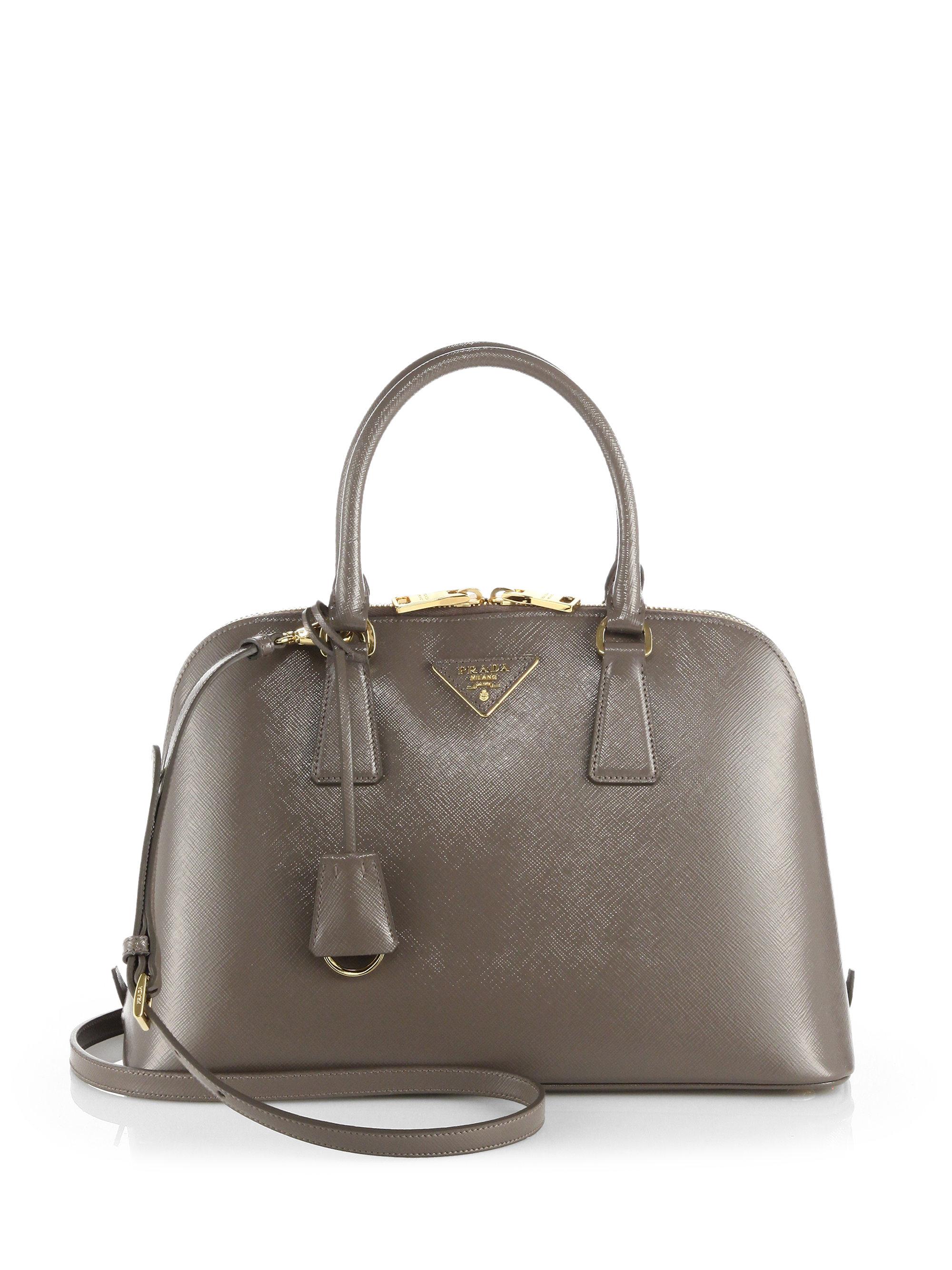 377681d28eaf ... low price lyst prada saffiano bicolor dome bag in gray 75e06 40829