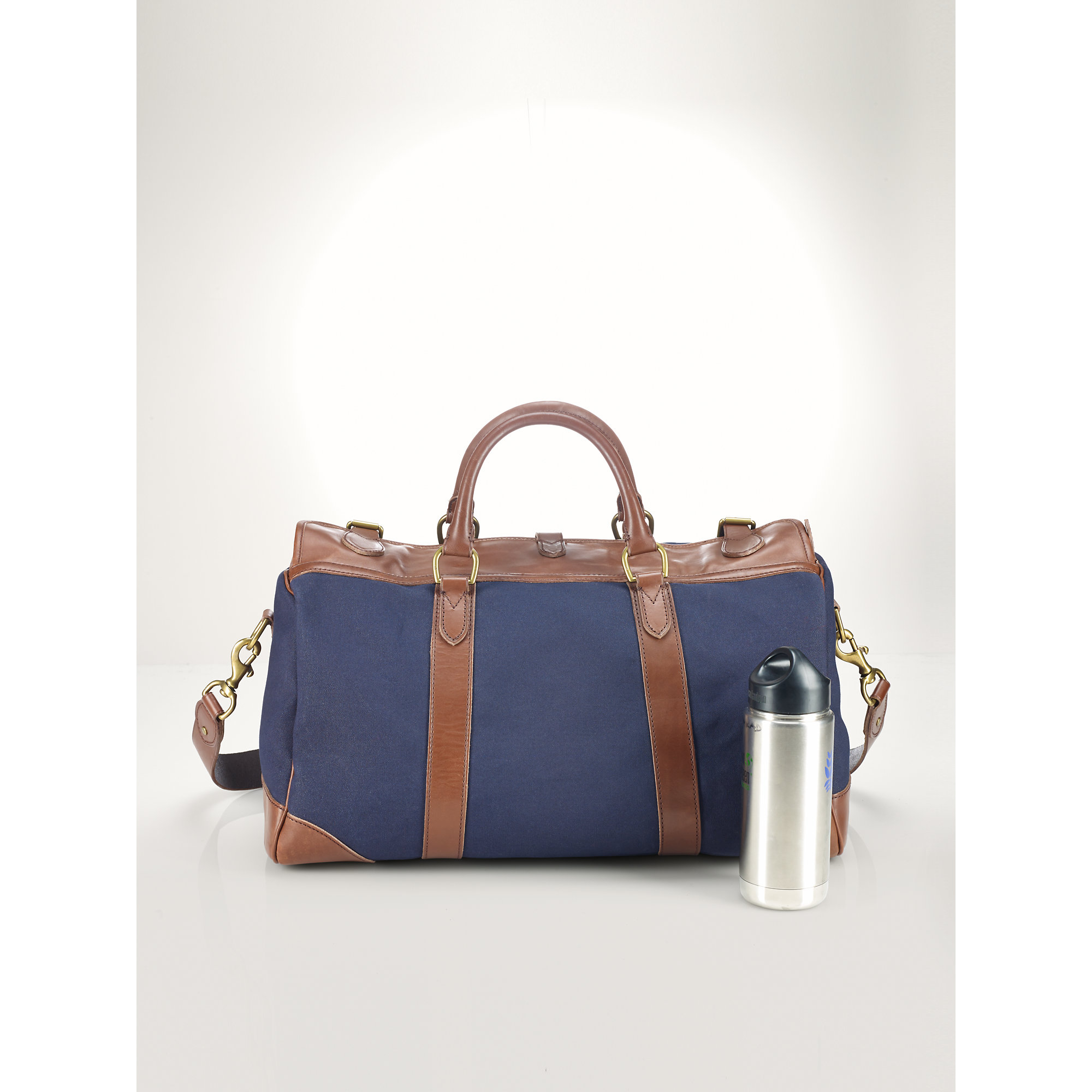 af2443c038b3 ... discount code for lyst ralph lauren leather trim canvas gym bag in blue  for men 906d0